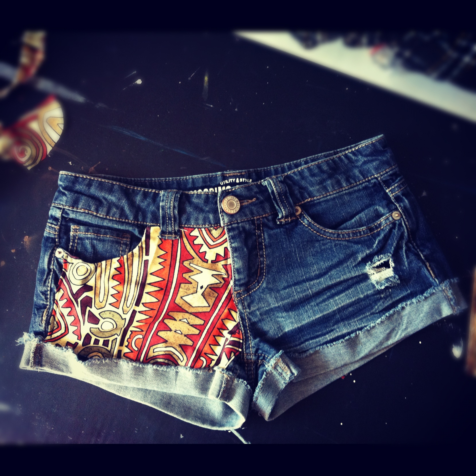 DIY Patterned Shorts Finished Product