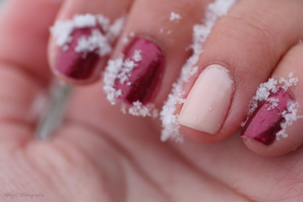Red and Pink Holiday Nails With Snow